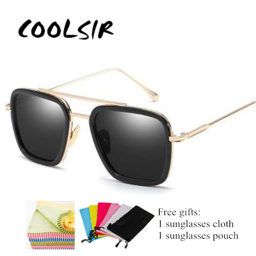 COOLSIR Fashion Men Sunglasses Classic Brand Designer Metal Square Sun glasses UV400 Protection