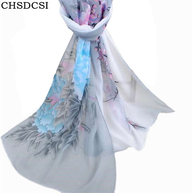 CHSDCSI 2018 New Woman Silk Scarf Printing Hijab Womens Scarves Fashion Polyester Chiffon Silk Soft Scarfs Shawl Scarves Wraps
