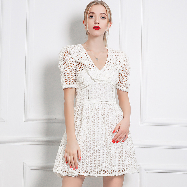 2afe7d19814 High Quality White Hollow Out Lace Self Portrait Dress 2018 Women Summer  Vintage V-neck Short Sleeve A-line Mini Dress