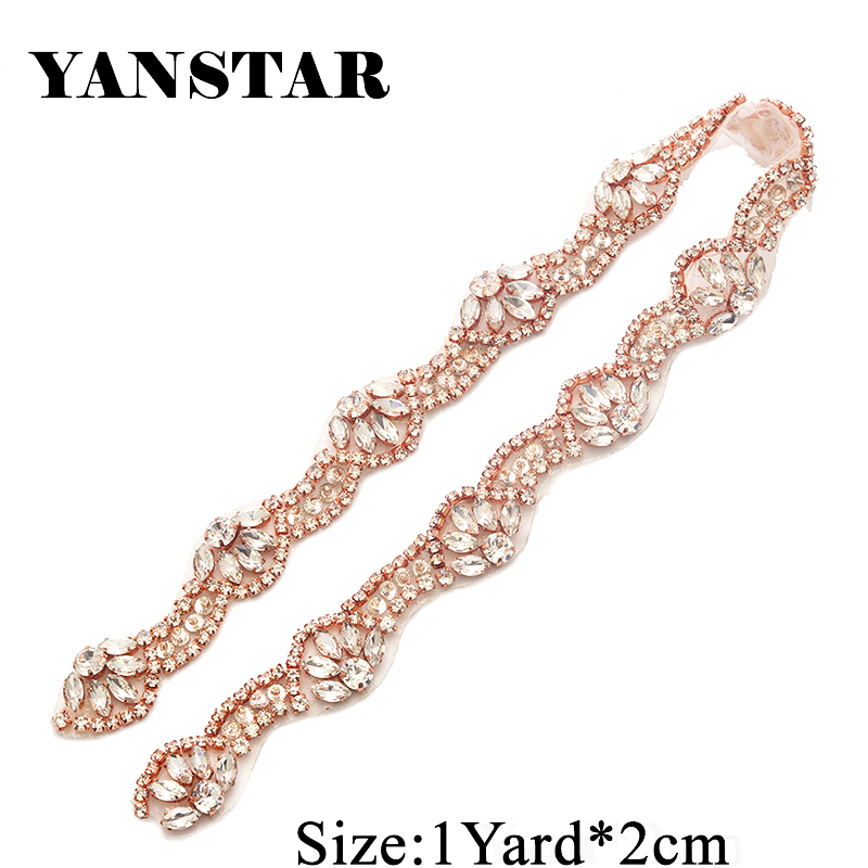 YANSTAR 1Yards Handmade Rhinestones Appliques For DIY Wedding Belt Clear  Crystal Rhinestones Sew On Bridal Accessory a50a4eed367f