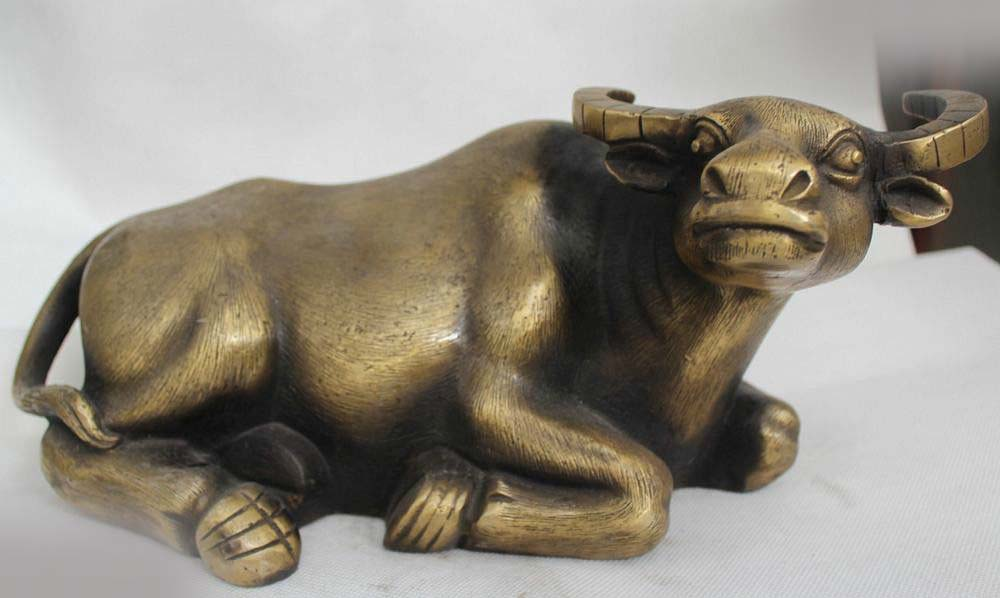 """6""""Lucky Chinese Bronze Fengshui Zodiac Wealth Year OX Cow Cattle Statue
