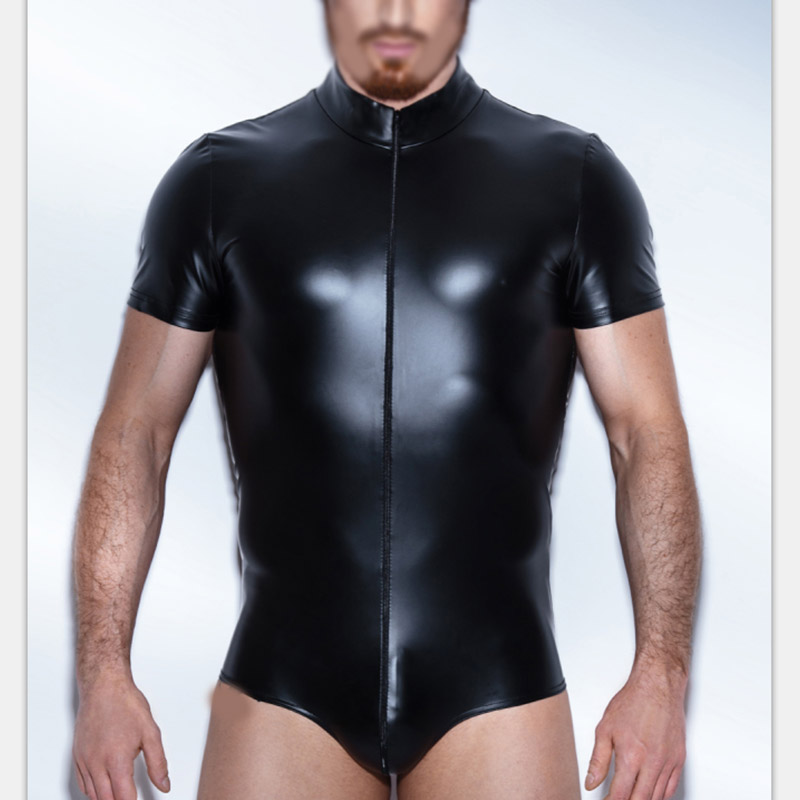 3XL Men Erotic Faux Leather Turtleneck Zipper Gay Vinyl Underwear Bodysuit Pole Dance Black Short Sleeve Men Latex Underwear