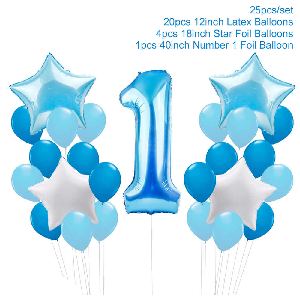 FENGRISE First Birthday Boy Girl 1 Year Banner Party Decor Balloons 1st