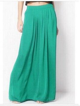 Женская длинная юбка в стиле знаменитостей пастельных конфетных цветов, плиссированная юбка размера плюс для женщин, юбки синего, зеленого, розового, красного цветов - Цвет: Зеленый