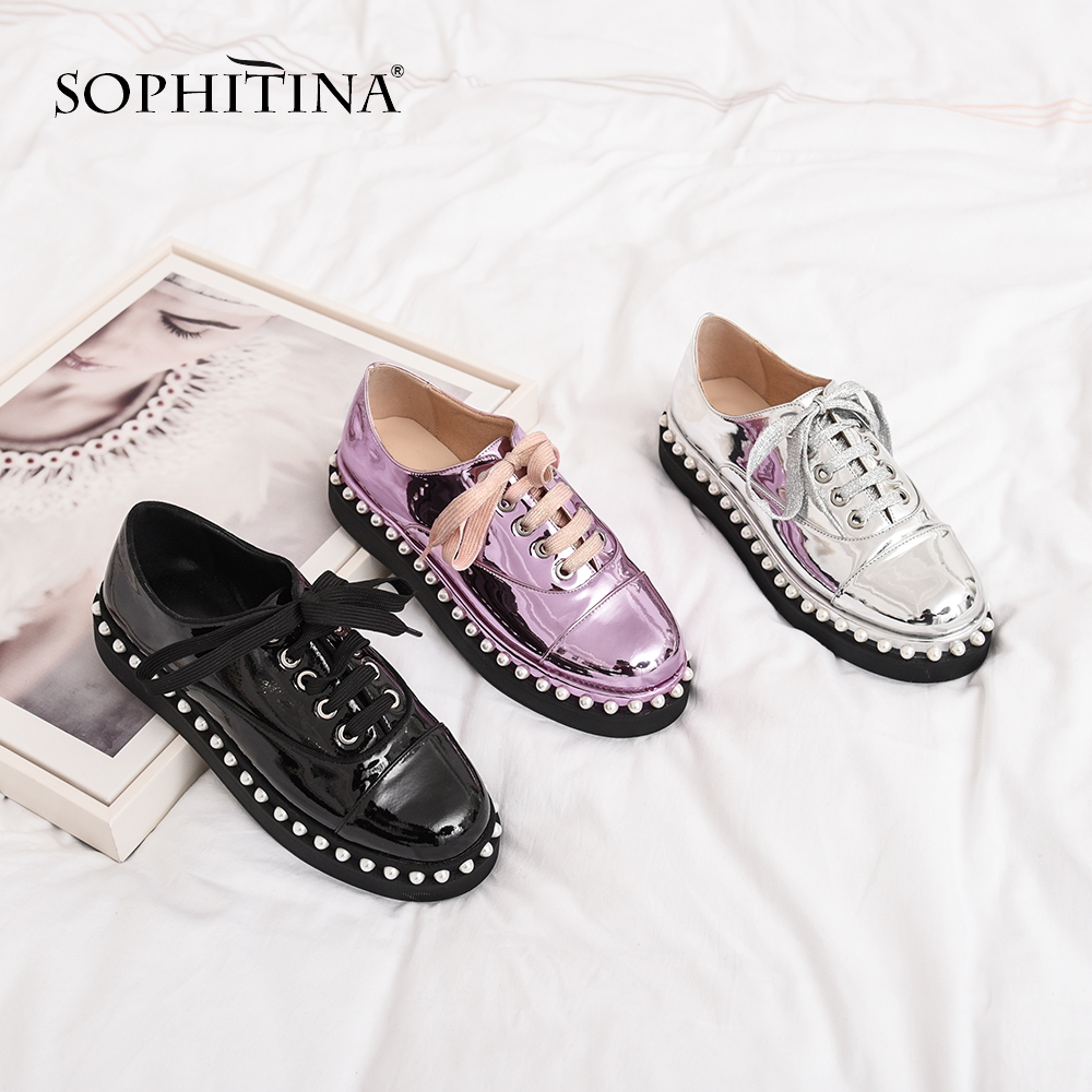 SOPHITINA New Comfortable Lace up Flats Fashion Patent Leather Solid Round Toe Casual Shoes Explosion Special