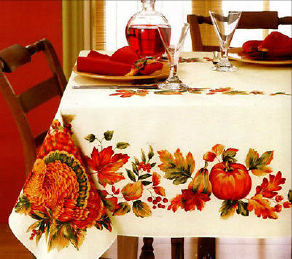 Flair Autumn Table Cloth Thanksgiving Turkey Harvest Gathering Printed Fabric Tablecloth Oblong