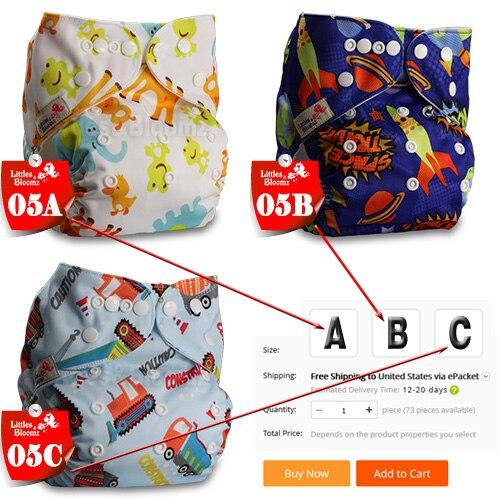 [Littles& Bloomz] Детские Моющиеся Многоразовые Тканевые карманные подгузники, выберите A1/B1/C1 из фото, только подгузники/подгузники(без вставки - Цвет: 05