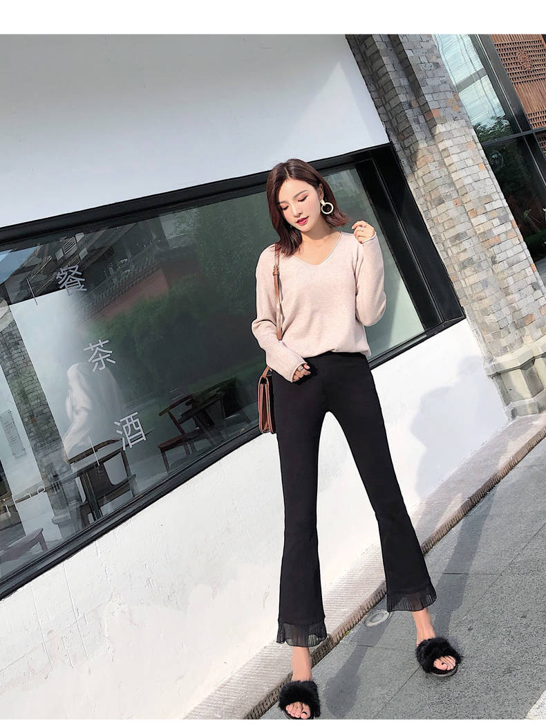 2019 Trousers Women High Waist Bell Bottom Metal Ring Flare Pants Wide Leg Pants Big Plus Size XL Black White Female Capris PP05 26