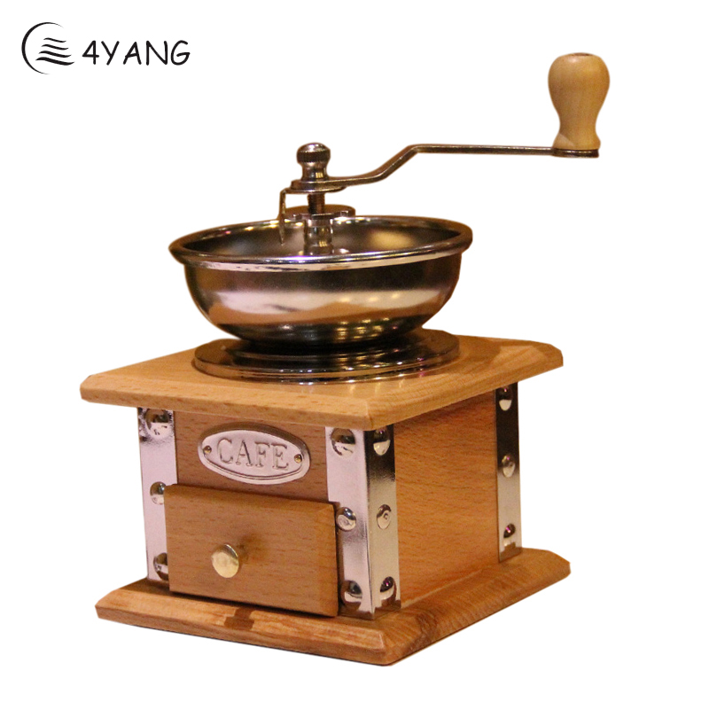 4YANG Retro Wooden Manual Coffee Grinder Stainless Steel Handle Ceramic Core Coffee Spice Mill Home Manual