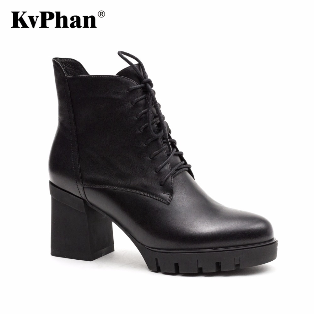 KvPhan New 2017 Fashion Genuine Leather Boots Cowhide ankle boots font b women b font autumn
