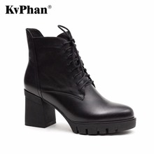 KvPhan New 2017 Fashion Genuine Leather Boots Cowhide ankle boots women autumn winter High heel boots lace-up rivets shoes woman