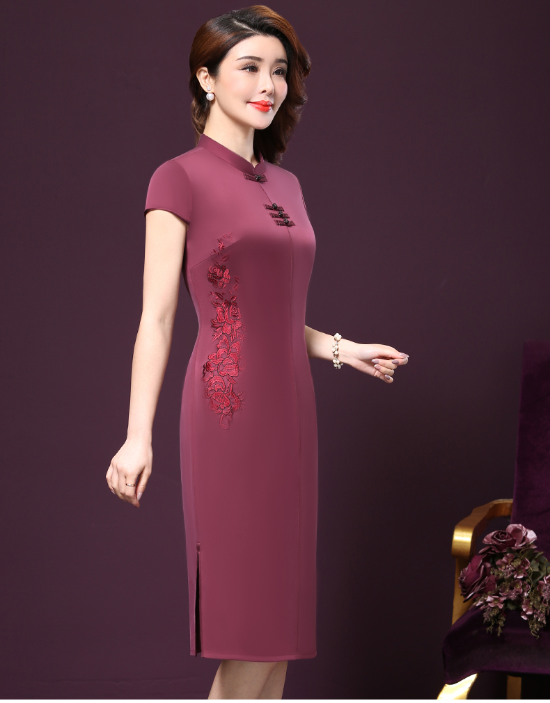 Plus size 4XL Chinese Style High-End Silk Vintage Embroidered Summer Dress Women Collar Short-Sleeve One-Step Dress female P168 11