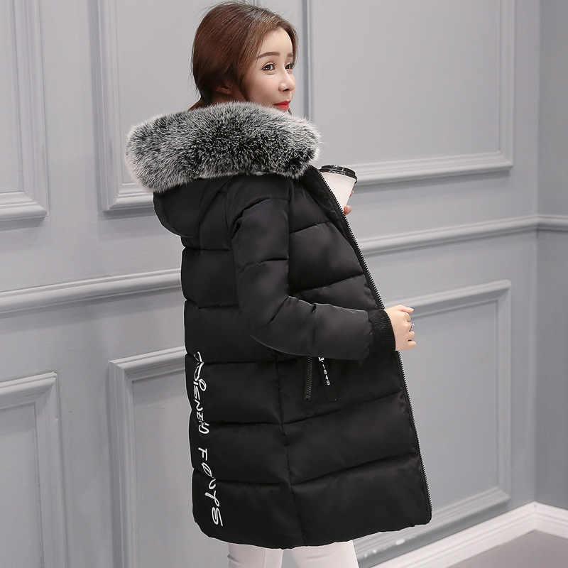 Winter Jacke Frauen 2019 Neue Gefälschte fuchs pelz kragen Mit Kapuze frauen unten jacke Outwear Dünne Weibliche Lange Unten Baumwolle gepolsterte Mantel