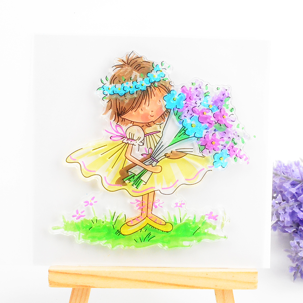 Rubber stamp craft supplies - Fairy Girl Clear Stamp For Scrapbooking Diy Album Paper Card Making Transparent Silicone Seal Stamp Decoration Craft Supplies