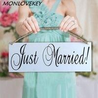 Nozze di legno Segni Just Married Chic Album di Foto Prop Decorazione Segno Evento Party Favor Legno Ciondolo Banner Elenco Bordo