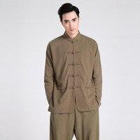 SUMART SUGAR Spring Summer Full Sleeve Shirts Men Solid Chinese Style Mens Shirts Kung Fu Men