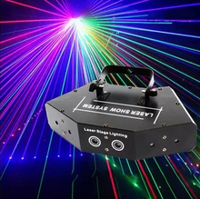 New LED six eyes red green blue scan full color beam laser light scanner bar flash wedding family party laser show projector