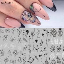 1pc Black Mandala Flower Nail Stickers Tropische Blad Nail Art 3D Sticker Vlinder Rose Adhesive Decals