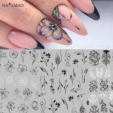 Pegatinas para uñas con diseño de flor de Mandala, calcomanías adhesivas en 3D para decoración de uñas de hoja Tropical, color negro, 1 Mariposa o rosa