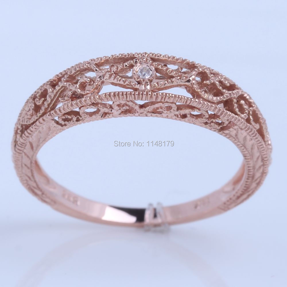 HELON Hot Jewelry Solid 14k585 Rose Gold SIH Diamonds Vintage