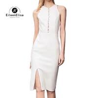 Женские платья элегантные длинные платья 2019 Лето Без Рукавов облегающее женское белое платье Вечерние