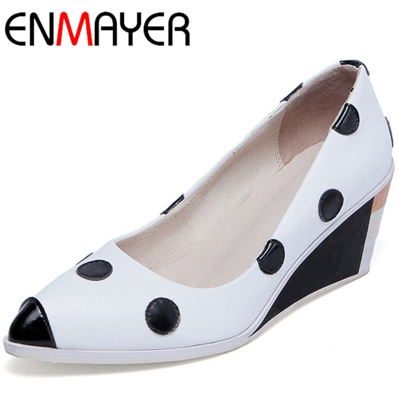 ENMAYER New Women High Heels Pumps Shoes Woman Size 34-39 Wedges Pointed Toe Spring Summer & Autumn Party Pumps Platform Shoes new flock high big size 11 12 women shoes wedges pointed toe woman ladies butterfly knot casual spring autumn sweet single shoes