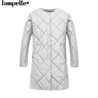 Autumn Winter New Women Cotton Parkas Slim Gray Argyle Coat Padded Warm Long Jacket 2017 Female