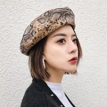 f934f94accbe0 2019 New Spring Snake PU Leather Beret Women Fashion Korean Version Female  Beret Girls Painter Hat