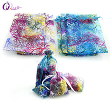 100pcs/lot Mixed Color 3 Sizes Organza gift Bag Favor packing Bag for Christmas wedding gift packing,Jewelry Packaging & Display