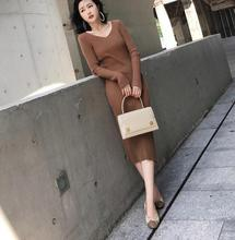 2019 New Spring Autumn Women Knit Dress Mid Calf Sheath Elegant Vintage Female Sweater Dresses