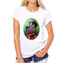 BONA 2016 Cartoon Frida Kahlo Funny Design Women's Retro Printed T shirt Fashion Creative Lady's Customized Slim T-shirt