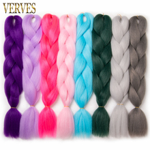 "VERVES Synthetic Braiding Hair Extensions 1 piece 24"" 100g/pcs Jumbo Braids High Temperature Fiber crochet braids bulk hair"