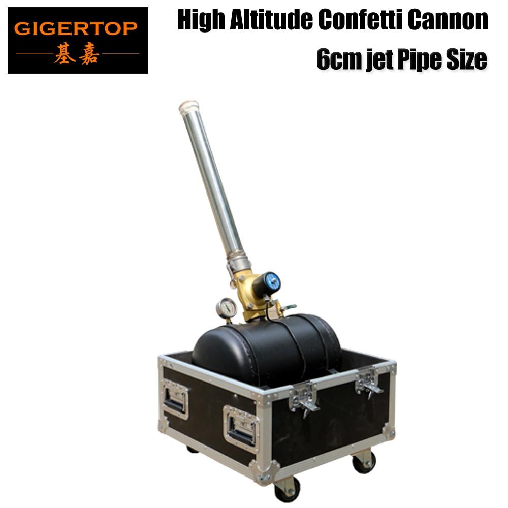 Gigertop TP T195 100W 6CM Pipe Diameter Size High Jet Confetti Cannon Flight Case Packing 110V/220V Solenoid Valve Manual Jet