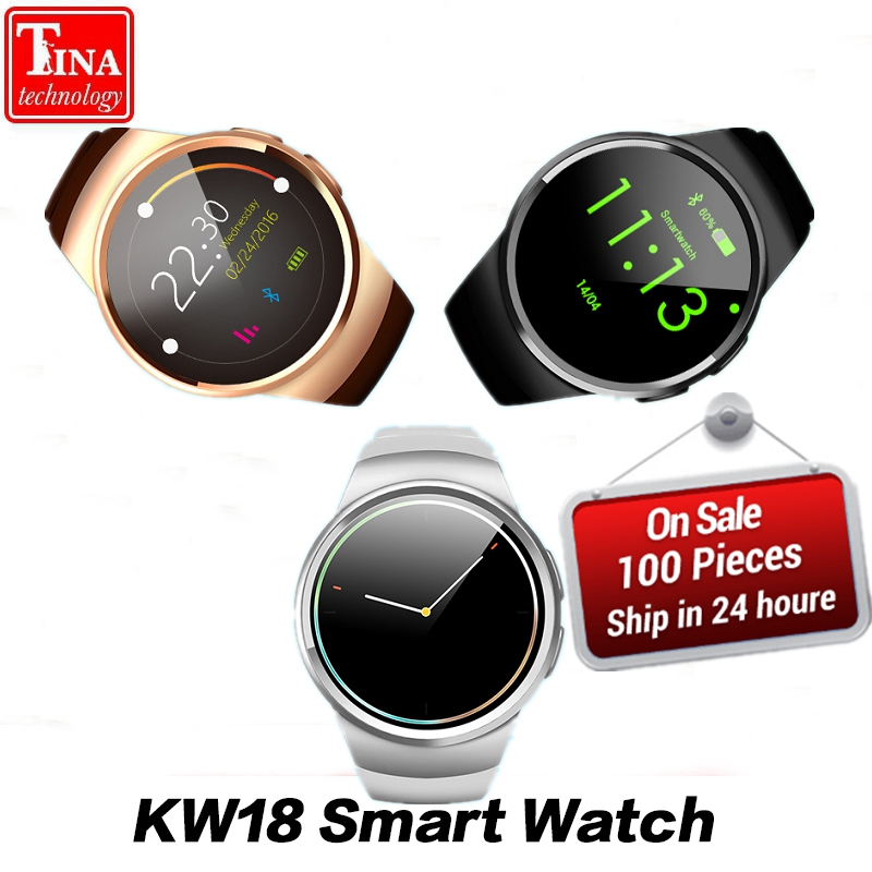 Free Shipping KW18 Smart Watch Support SIM TF Card Heart Rate Monitor MTK2502 Smartwatch for Android IOS Phone with Box