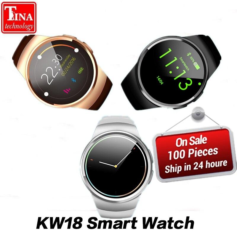 Livraison Gratuite KW18 Montre Smart Watch Soutien SIM TF Carte Moniteur de Fréquence Cardiaque MTK2502 Smartwatch pour Android IOS Téléphone avec la Boîte