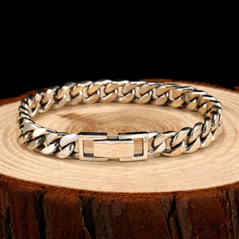 ZABRA Real 925 Sterling Silver Bracelet Mans 8mm Width 18.5 Length Rock Fashion Chain Bracelets For Man Jewelry Gift - 3