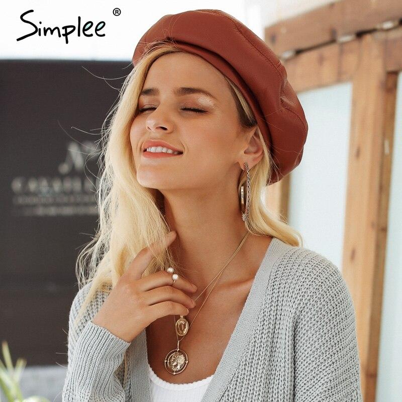 Simplee de cuero de la PU de la boina sombreros para las mujeres invierno  gorra plana 6322602aaa2