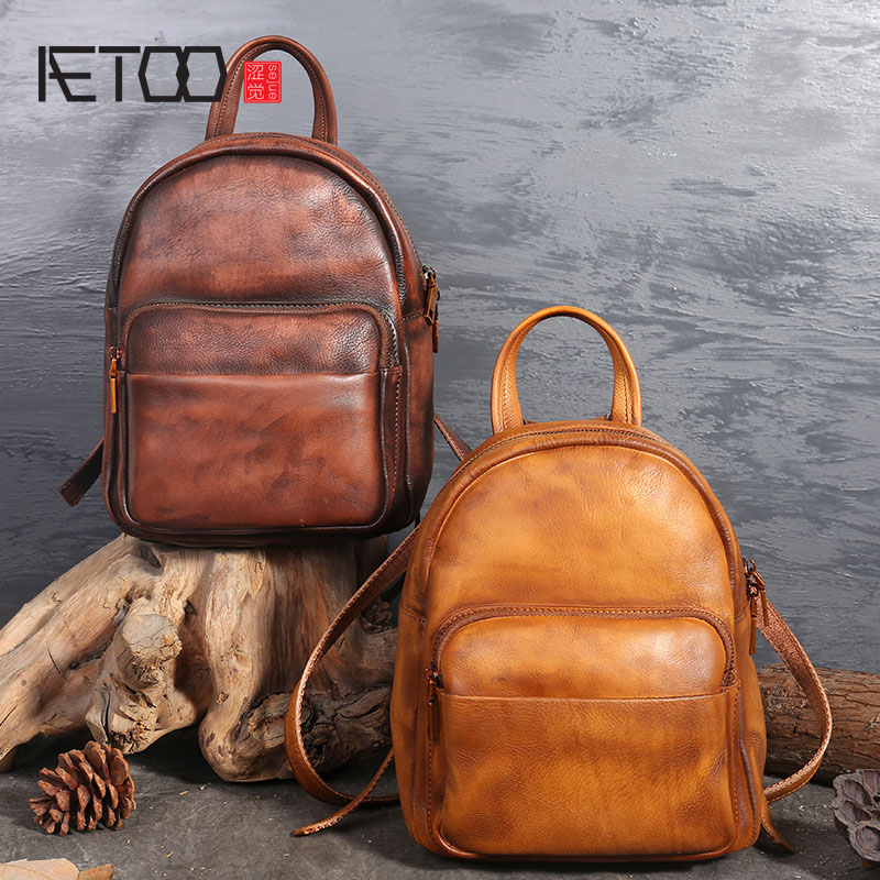 AETOO Retro leather backpack casual women wipe the first layer of leather shoulder bag aetoo spring and summer the new first layer of vegetable tanning backpack shoulder bag leather bags cow leather retro color