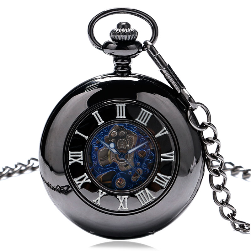 Fashiom Black Mechanical Pocket Watch Men Women Best Gift For Wedding Hours Clock P881C