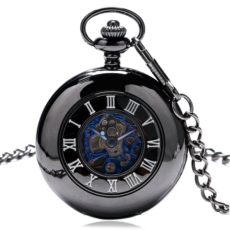 Fashiom Black Mechanical Pocket Watch Men Women Best Gift For Wedding Hours Clock P881C