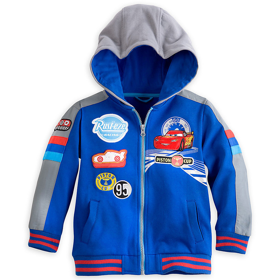 Hotsale 2015 Children Hooded Cartoon Boys Kids Swatshirts Kids Clothes Lightning Cars Pattern High Quality Zipper Jacket 092102