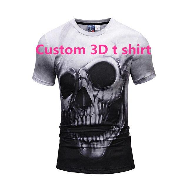 2018 New Full Print T Shirt Skull Funny Men Fitness Compression Shirts Tops