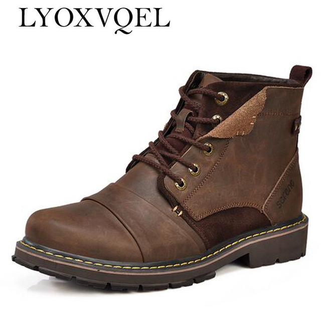 Winter men boots warm genuine leather Retro boots with fur waterproof motorcycle boots free shipping M319