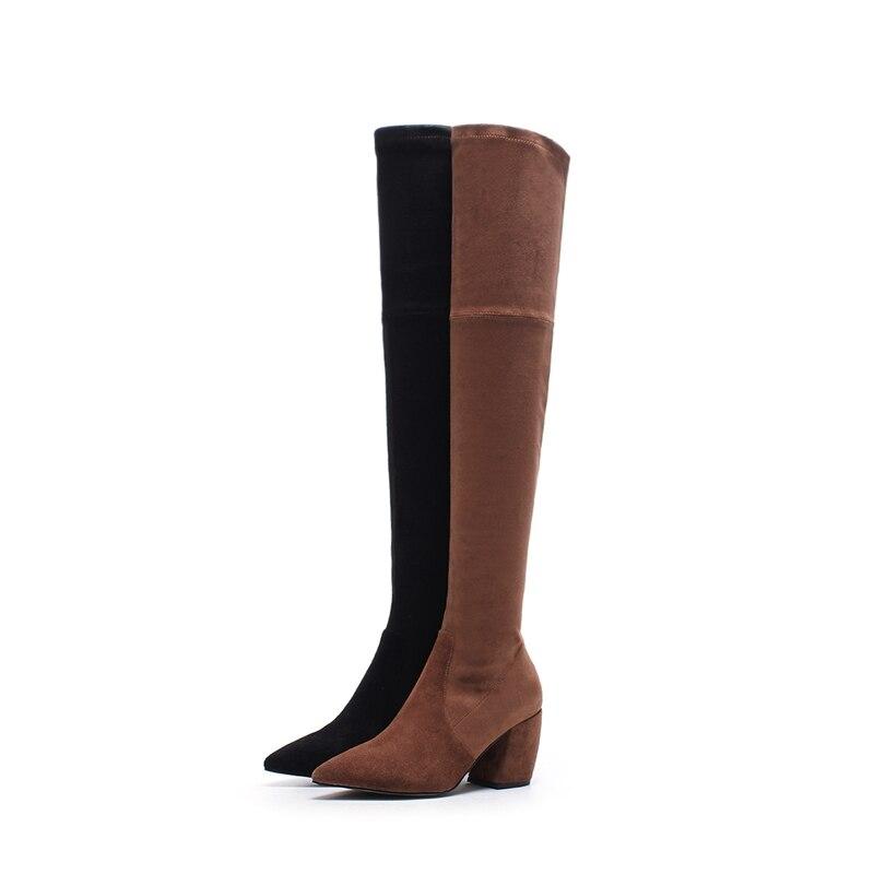 A Muslo Otoño Ante De Bota 2017 Zapatos Mujer Invierno Gruesa Tacón Cremallera Botas Vaca Superestrella Rodilla Negro Nuevo Más Moda Llegar marrón Alta La ZHxwzx