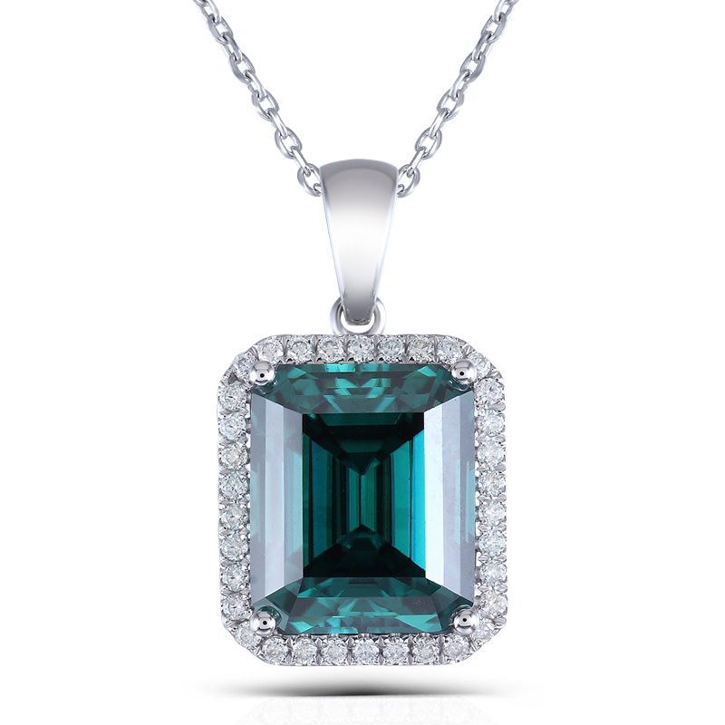 Transgems 14K White Gold 10X12mm Emerald Moissanite Pendant Necklace With COMPLIMENTARY 18 14K White Gold Chain moissanite pendant 18k 750 white gold lab grown moissanite diamond pendant drop bezel necklace chain for women jewelry