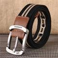 2016 de alta calidad de la correa de la raya de la Lona neutral Ocio Multicolor Cinturones Nuevos Hombres Cinturones de Moda Cinturón Ancho