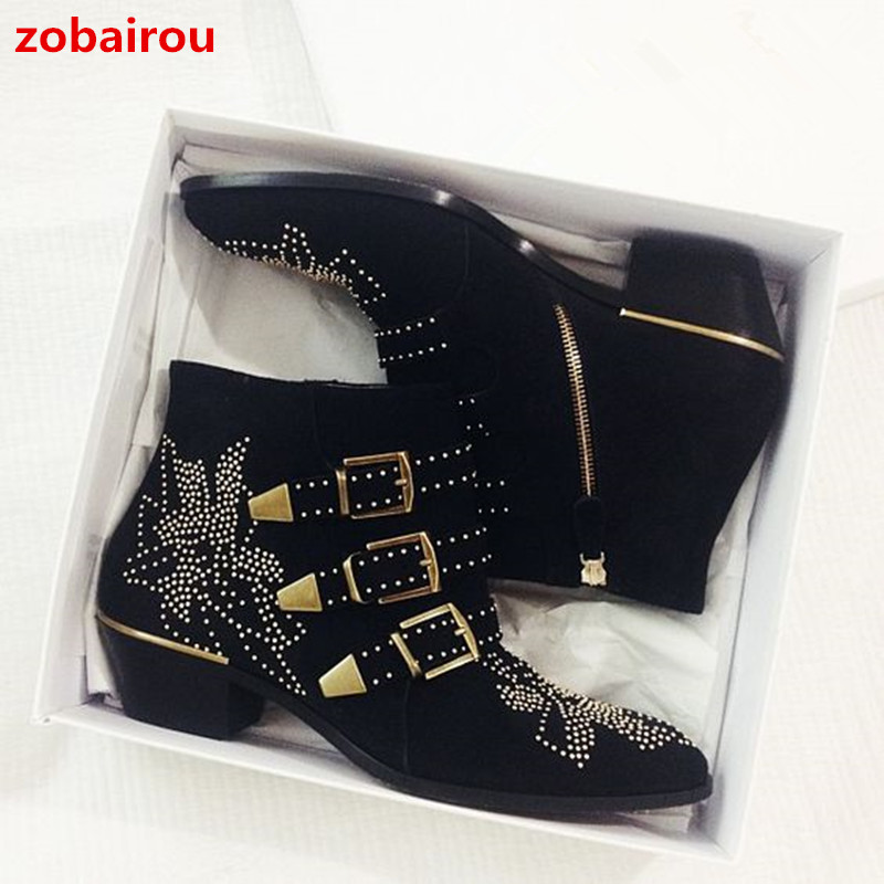 Zobairou Susanna Rivets Embroidered Black Leather Ankle Boots Med Chunky Heel Celebrity Fashion Floral Batas Women Studded Shoes цена и фото