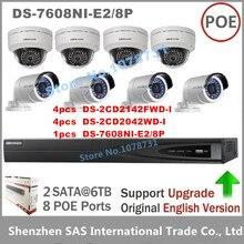Hikvision CCTV Sistemi NVR DS-7608NI-E2/8 P 8 POE + 4 adet DS-2CD2142FWD-I + 4 adet DS-2CD2042WD-I 4MP IP kamera Gözetim kamera