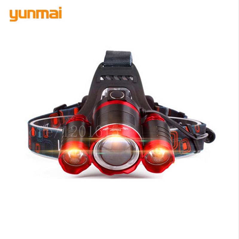 Red Led Headlight 8000Lm Rechargeable Headlamp Flashlight Head Torch Linterna XML T6 Camping Hunting 18650 Light +Car / charger 18000lm 15x xml t6 led rechargeable flashlight torch handlamp headlight 4x18650 battery charger