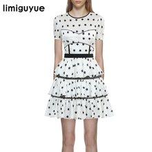 3f586b40b61 Limiguyue 2018 новое платье self portrait летние женские торт мини платья  Марка Белый Элегантный праздничное платье Хиппи Пляж в.